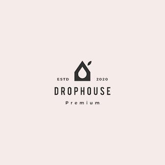 Gota eco casa logotipo hipster retro vintage ícone