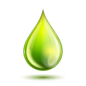 Gota verde lustrosa isolada no branco. conceito de biocombustível