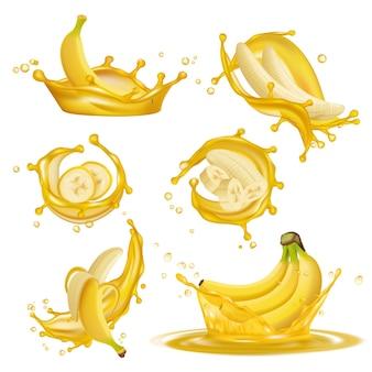 Gotas amarelas líquidas de suco de bannanas frutas saudáveis sobremesas exóticas pingando fotos promocionais realistas em 3d