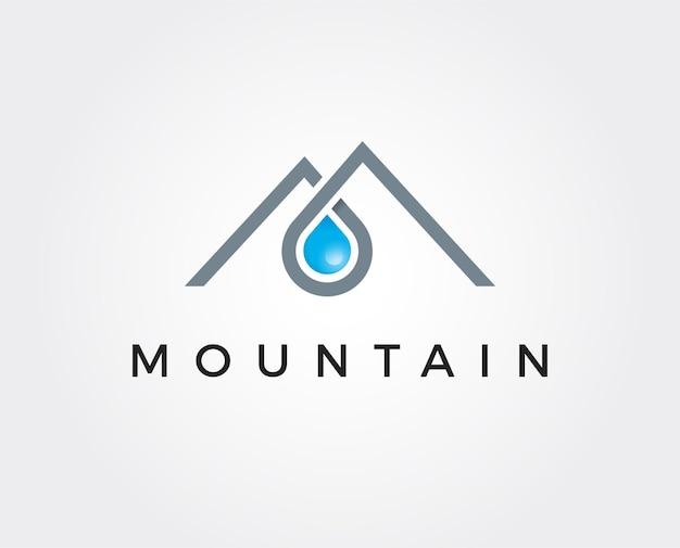 Gotas de água doce como parte do modelo de logotipo de montanhas
