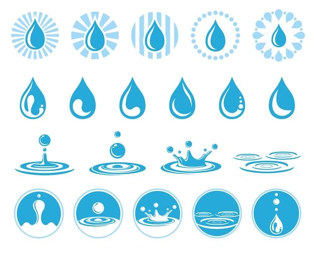 Gotas de água fixadas em branco