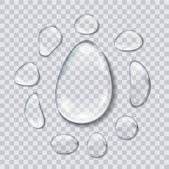 Gotas de água isoladas em fundo transparente