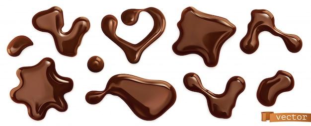 Gotas de chocolate, conjunto de vetores realistas