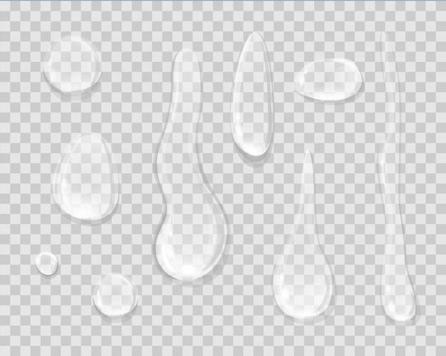 Gotas de chuva isoladas em transparente