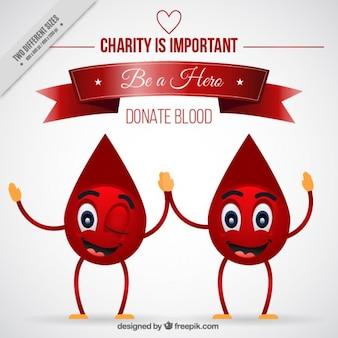 Gotas de sangue agradáveis de fundo de doadores de sangue