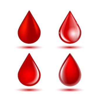 Gotas de sangue brilhantes vermelhas isoladas no fundo branco. ilustração vetorial