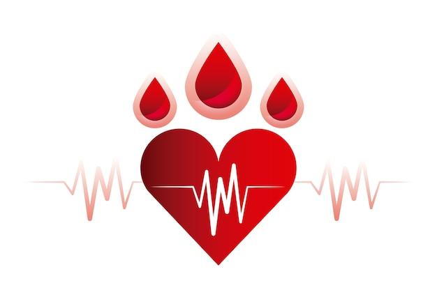 Gotas de sangue e ícone do coração cardio