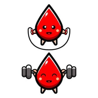 Gotas de sangue fofas fazendo exercícios