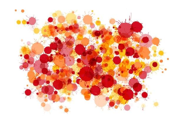 Gotas de tinta aquarela vermelha, laranja e amarela de fundo colorido