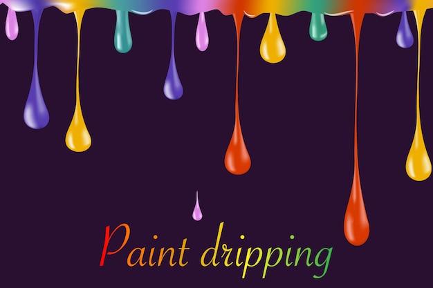 Gotas de tinta brilhante arco-íris em branco. ilustrador. gotas de esmalte. esmalte caindo gota. gotas de tinta caindo. gotas de tinta caindo. gotas caindo.