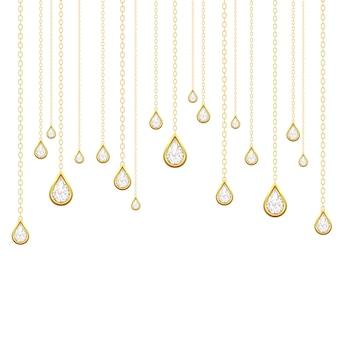 Gotas douradas com brilhantes