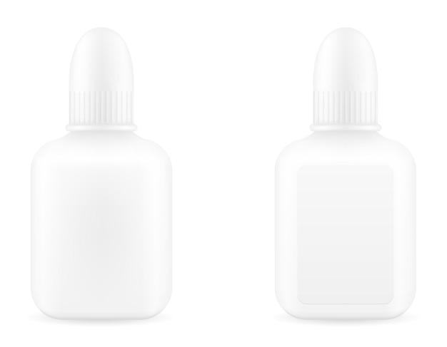 Gotas médicas em uma garrafa de plástico para o tratamento de doenças modelo vazio
