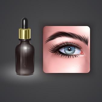 Gotas para olhos em frasco de vidro com pipeta