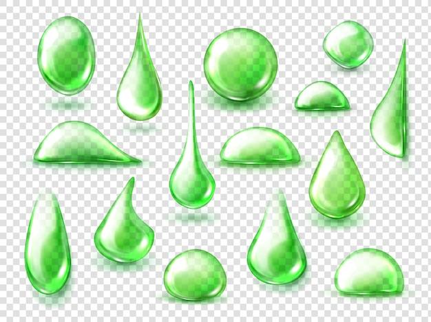 Gotas verdes de água, gotas de chá de ervas