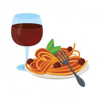 Goumet comida com taça de vinho