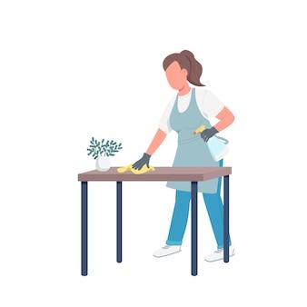 Governanta limpando poeira personagem sem rosto cor lisa. zelador feminino no avental e luvas isolaram a ilustração dos desenhos animados para design gráfico da web e animação. trabalho doméstico, serviço de zeladoria