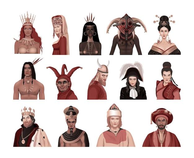 Governantes de diferentes países e povos. reis, princesas e líderes.