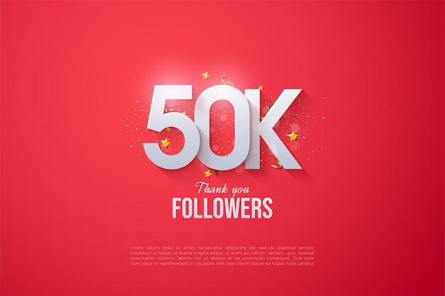 Graças a 50 mil seguidores com números e letras sobrepostos.
