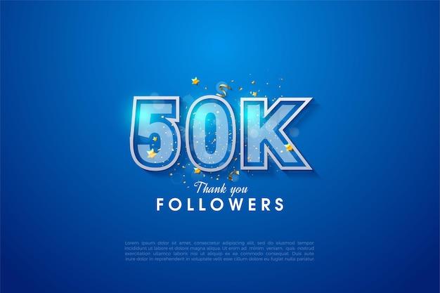 Graças aos 50 mil seguidores com os números com bordas brancas.