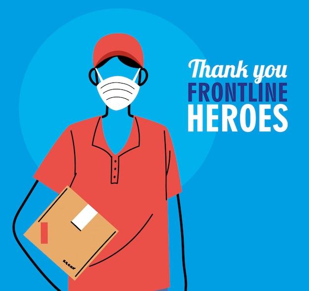 Graças aos heróis da linha de frente. entregador com máscara