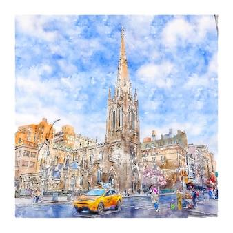 Grace church em nova york esboço em aquarela de ilustrações desenhadas à mão