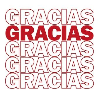 Gracias. obrigado em espanhol. ilustração vetorial. impressões e pôsteres modernos motivadores, cartões comemorativos - cores vermelho e branco