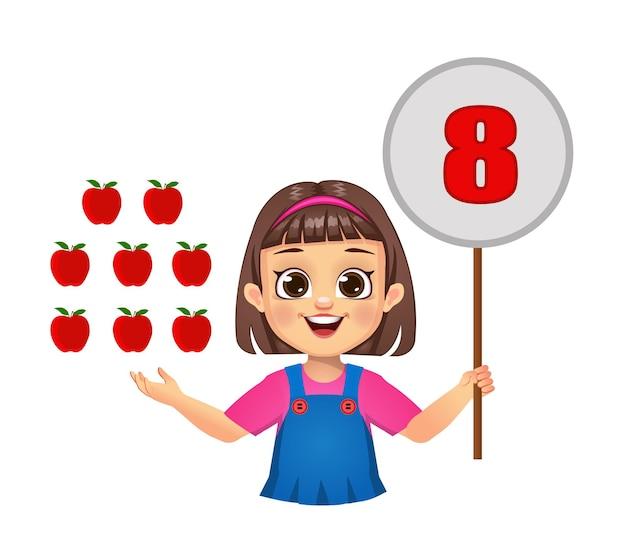 Gracinha contando números, mostrando o quadro numérico. isolado