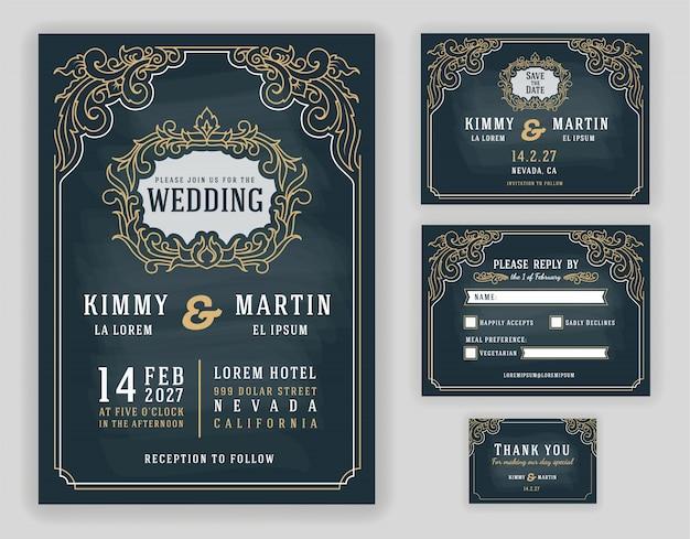 Gracioso vintage e convite de casamento luxuoso no fundo do quadro-negro