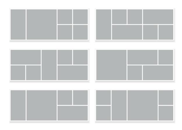 Grade de mosaico de colagem retangular de fotos isoladas em branco
