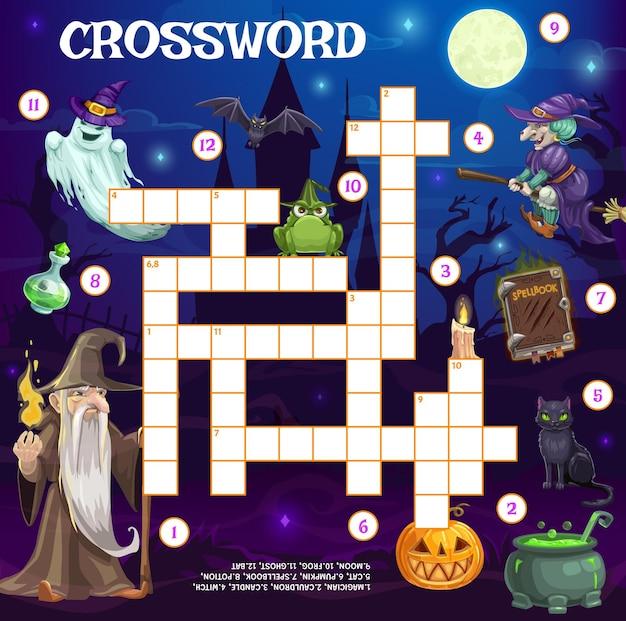 Grade de palavras cruzadas de férias, bruxa de halloween e fantasmas