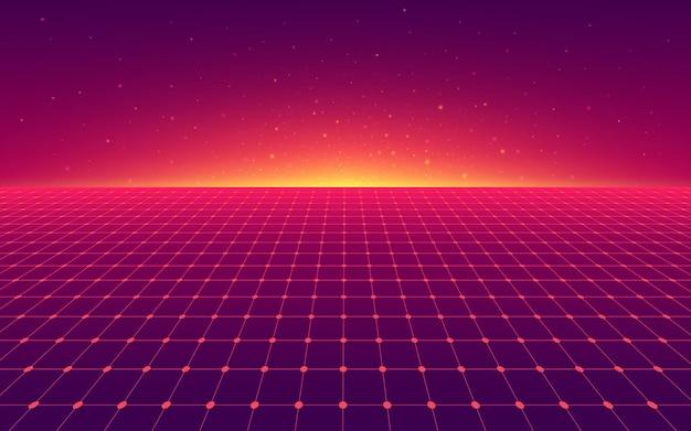 Grade de violeta vermelha de perspectiva abstrata. linha de néon futurista retrô. paisagem plana distorcida composta de luzes de néon cruzadas e feixes de laser.