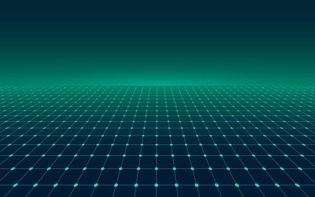 Grade verde de perspectiva abstrata. linha de néon futurista retrô em fundo escuro.