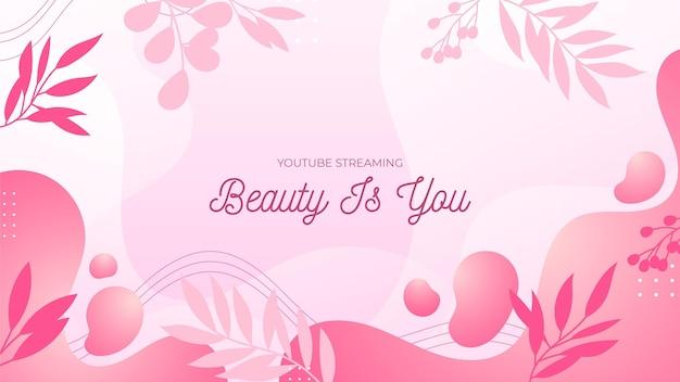 Gradient beauty youtube channel art Vetor grátis