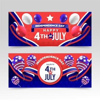 Gradiente 4 de julho - conjunto de banners do dia da independência