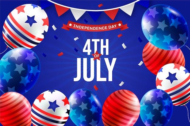 Gradiente 4 de julho - fundo de balões do dia da independência