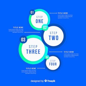 Gradiente círculos infográfico passos