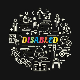 Gradiente colorido com deficiência com o conjunto de ícones de linha