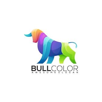Gradiente colorido da ilustração do logotipo da bull