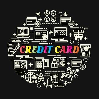 Gradiente colorido de cartão de crédito com conjunto de ícones de linha