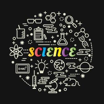 Gradiente colorido de ciência com conjunto de ícones de linha