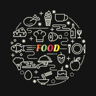 Gradiente colorido de comida com conjunto de ícones de linha Vetor Premium