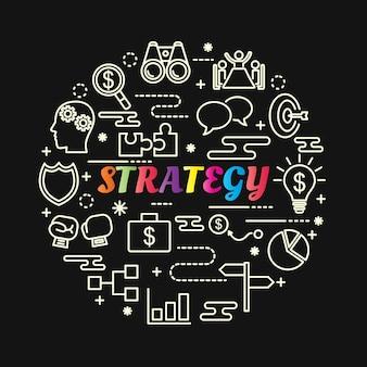Gradiente colorido de estratégia com conjunto de ícones de linha