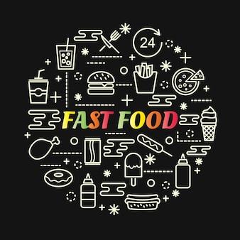 Gradiente colorido de fast-food com conjunto de ícones de linha