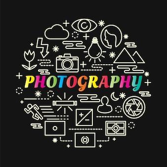 Gradiente colorido de fotografia com conjunto de ícones de linha