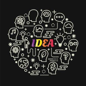 Gradiente colorido de idéia com conjunto de ícones de linha