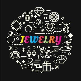 Gradiente colorido de jóias com conjunto de ícones de linha