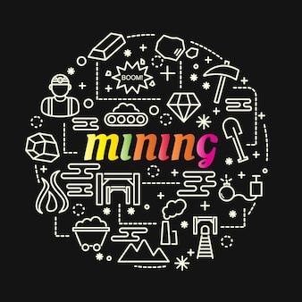 Gradiente colorido de mineração com conjunto de ícones de linha