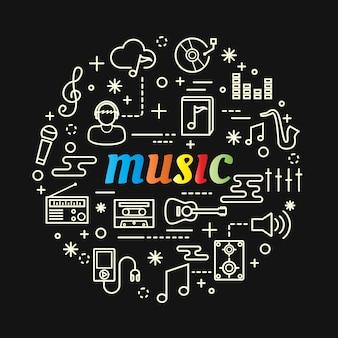 Gradiente colorido de música com conjunto de ícones de linha