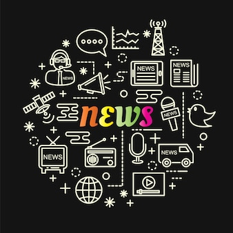 Gradiente colorido de notícias com conjunto de ícones de linha