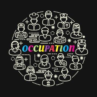 Gradiente colorido de ocupação com conjunto de ícones de linha
